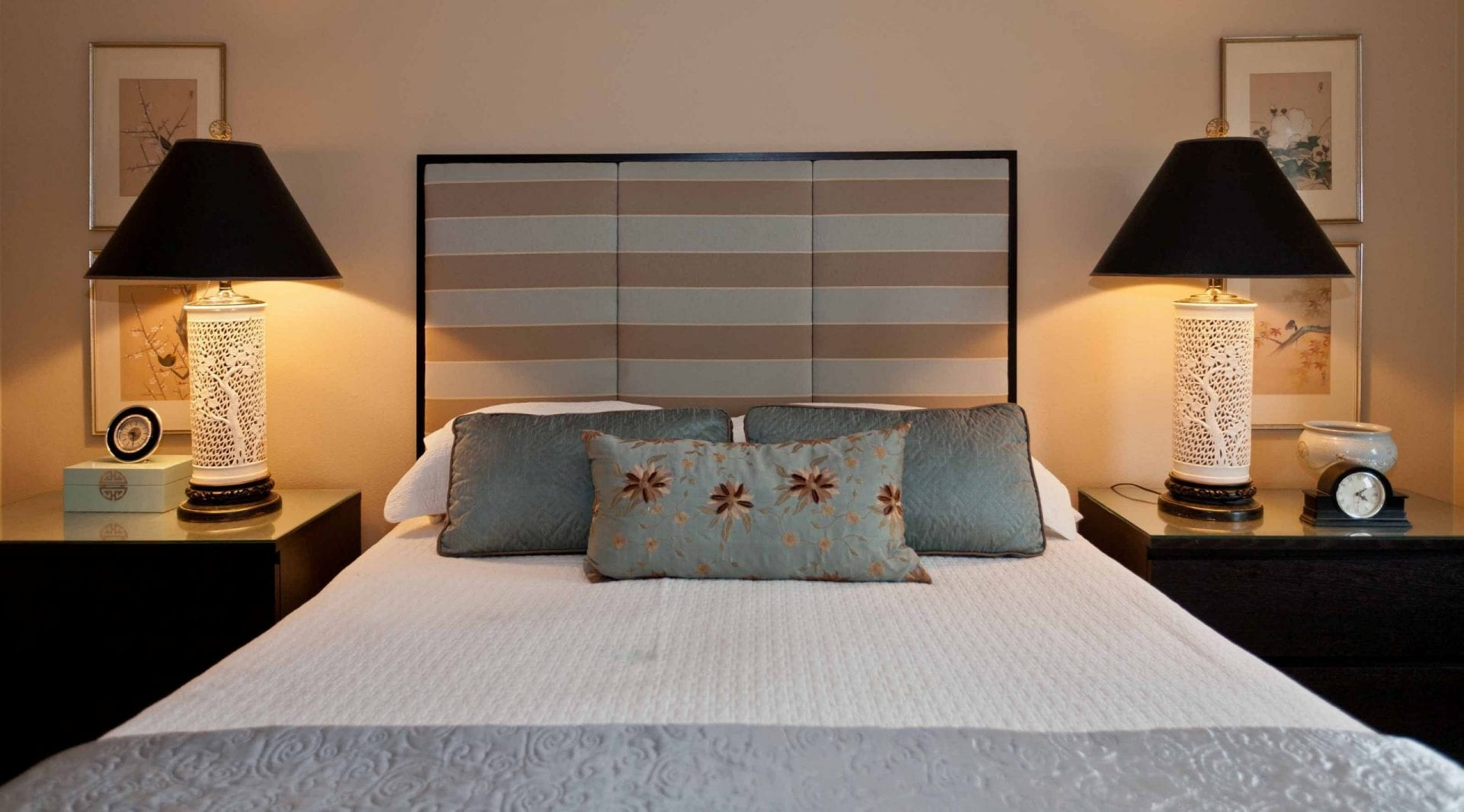 Custom Upholstered Headboard and vintage lamps