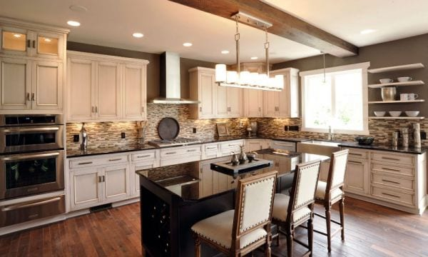 Light kitchen cabinets with dark island for Dark kitchen cabinets light island