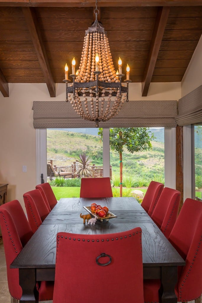 Bohemian on the Ridge Dining room red chairs