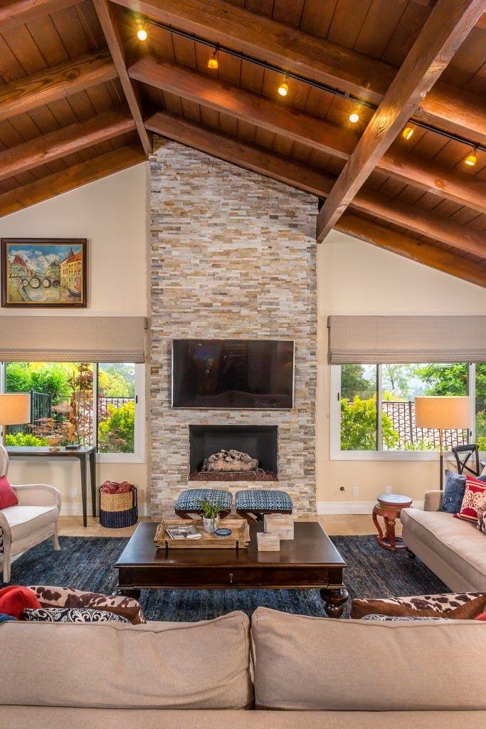 Bohemian on the Ridge Fireplace Renovation with stacked stone